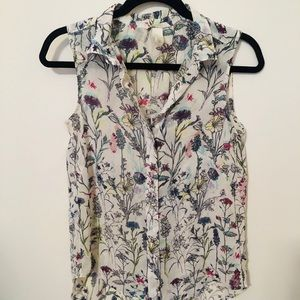 Floral sheer shell top